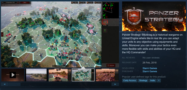 The page of the Panzer Strategy in the Steam now!